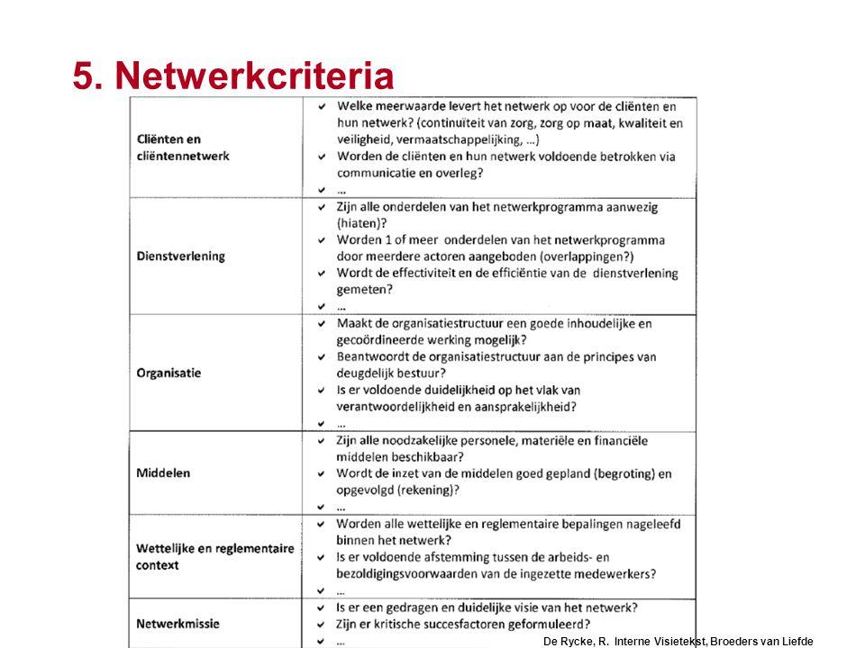 104 5. Netwerkcriteria De Rycke, R. Interne Visietekst, Broeders van Liefde