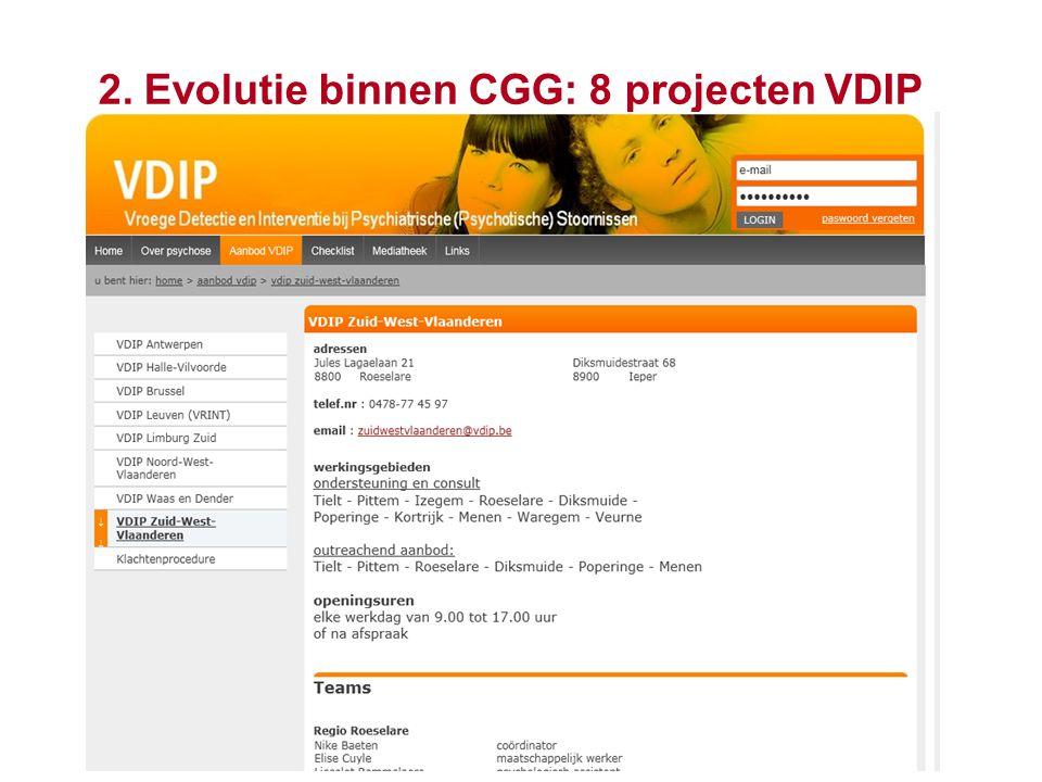 13 2. Evolutie binnen CGG: 8 projecten VDIP