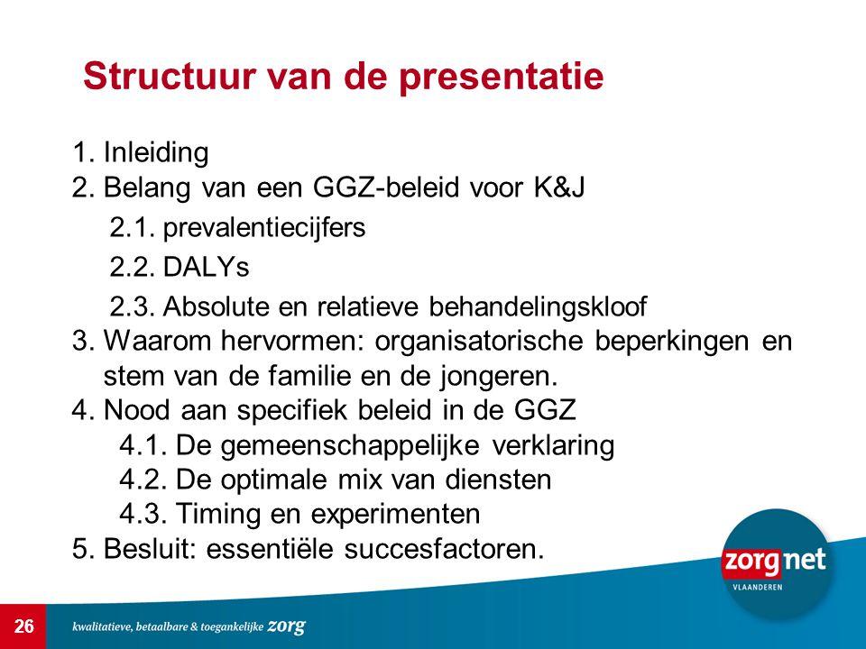 26 Structuur van de presentatie 1.Inleiding 2. Belang van een GGZ-beleid voor K&J 2.1.
