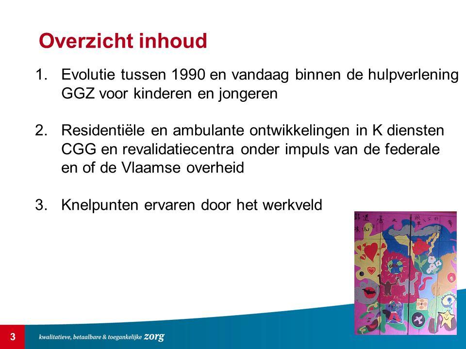 3 Overzicht inhoud 1.Evolutie tussen 1990 en vandaag binnen de hulpverlening GGZ voor kinderen en jongeren 2.Residentiële en ambulante ontwikkelingen in K diensten CGG en revalidatiecentra onder impuls van de federale en of de Vlaamse overheid 3.Knelpunten ervaren door het werkveld