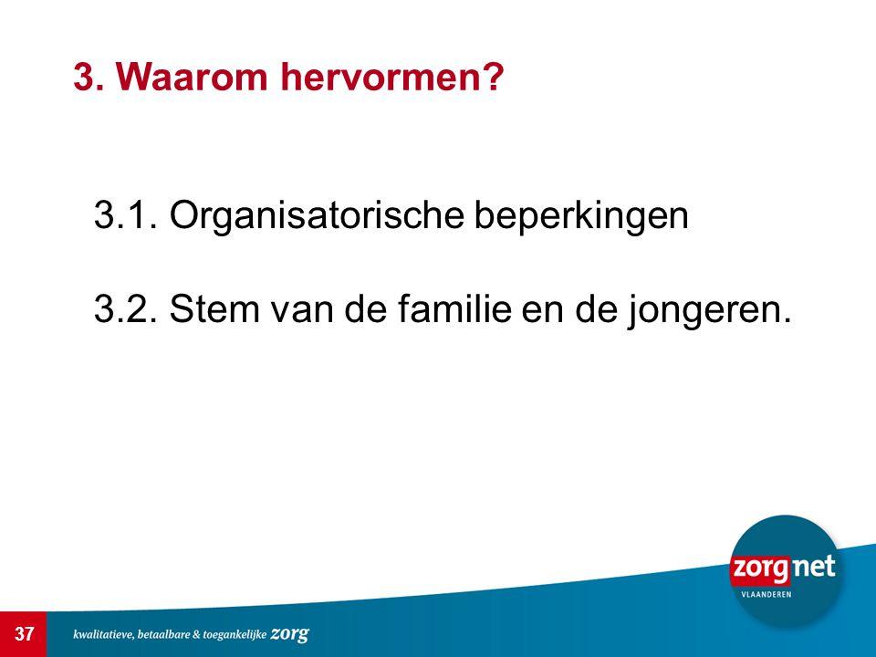 37 3. Waarom hervormen? 3.1. Organisatorische beperkingen 3.2. Stem van de familie en de jongeren.