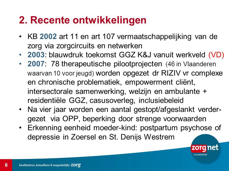 6 2. Recente ontwikkelingen KB 2002 art 11 en art 107 vermaatschappelijking van de zorg via zorgcircuits en netwerken 2003: blauwdruk toekomst GGZ K&J