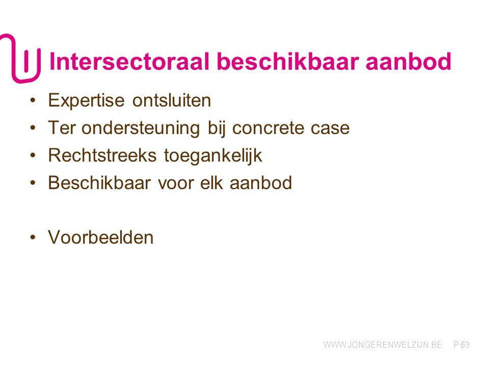 WWW.JONGERENWELZIJN.BE P Intersectoraal beschikbaar aanbod 63 Expertise ontsluiten Ter ondersteuning bij concrete case Rechtstreeks toegankelijk Beschikbaar voor elk aanbod Voorbeelden