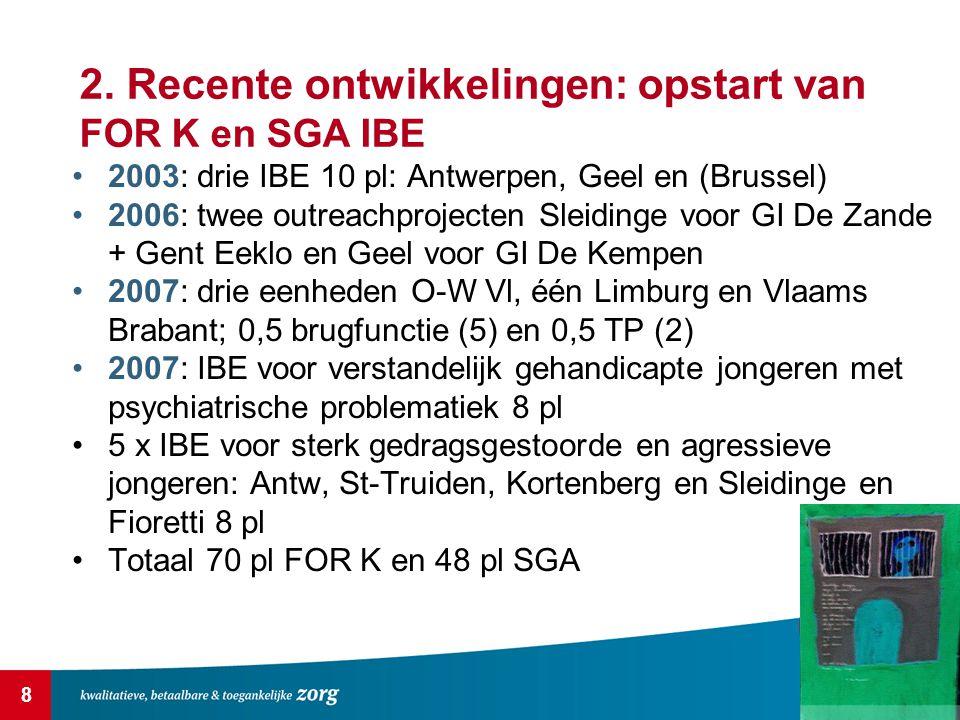 8 2. Recente ontwikkelingen: opstart van FOR K en SGA IBE 2003: drie IBE 10 pl: Antwerpen, Geel en (Brussel) 2006: twee outreachprojecten Sleidinge vo