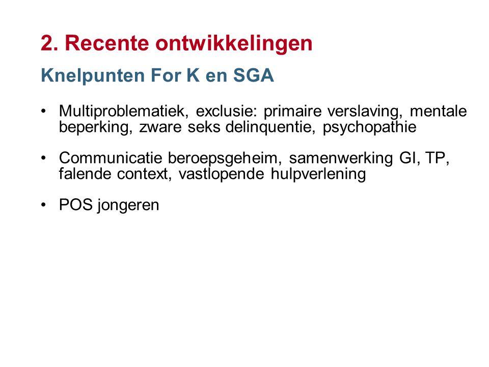 9 2. Recente ontwikkelingen Knelpunten For K en SGA Multiproblematiek, exclusie: primaire verslaving, mentale beperking, zware seks delinquentie, psyc