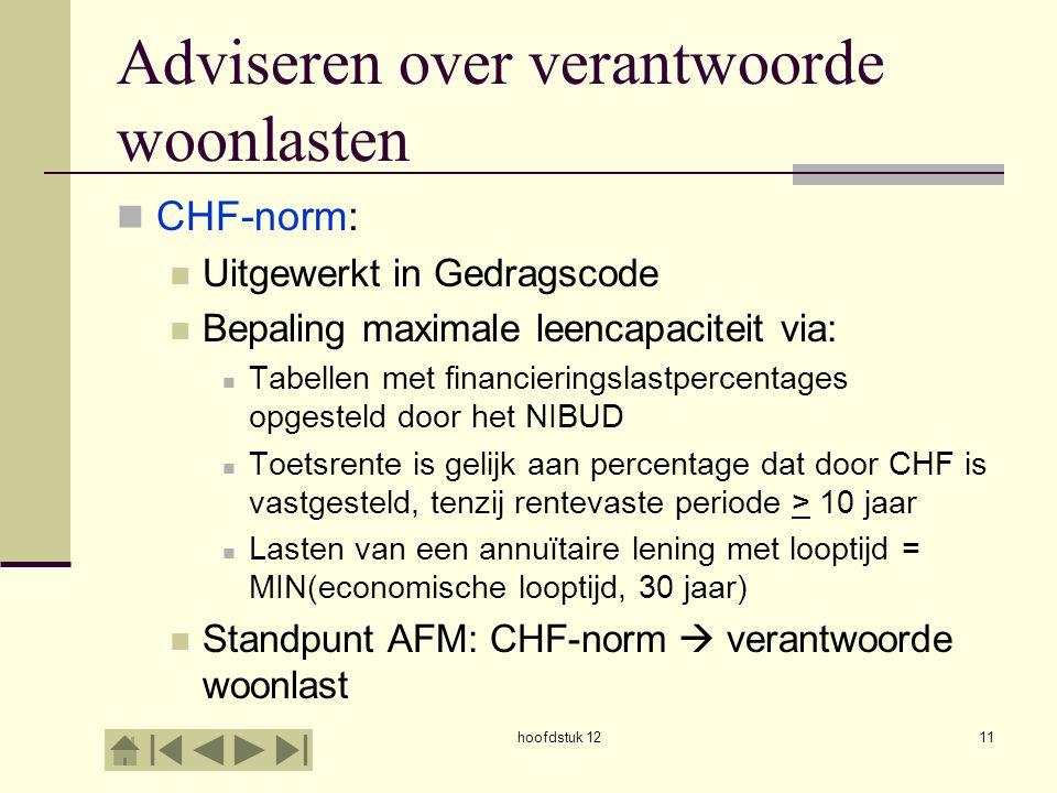 Adviseren over verantwoorde woonlasten CHF-norm: Uitgewerkt in Gedragscode Bepaling maximale leencapaciteit via: Tabellen met financieringslastpercent