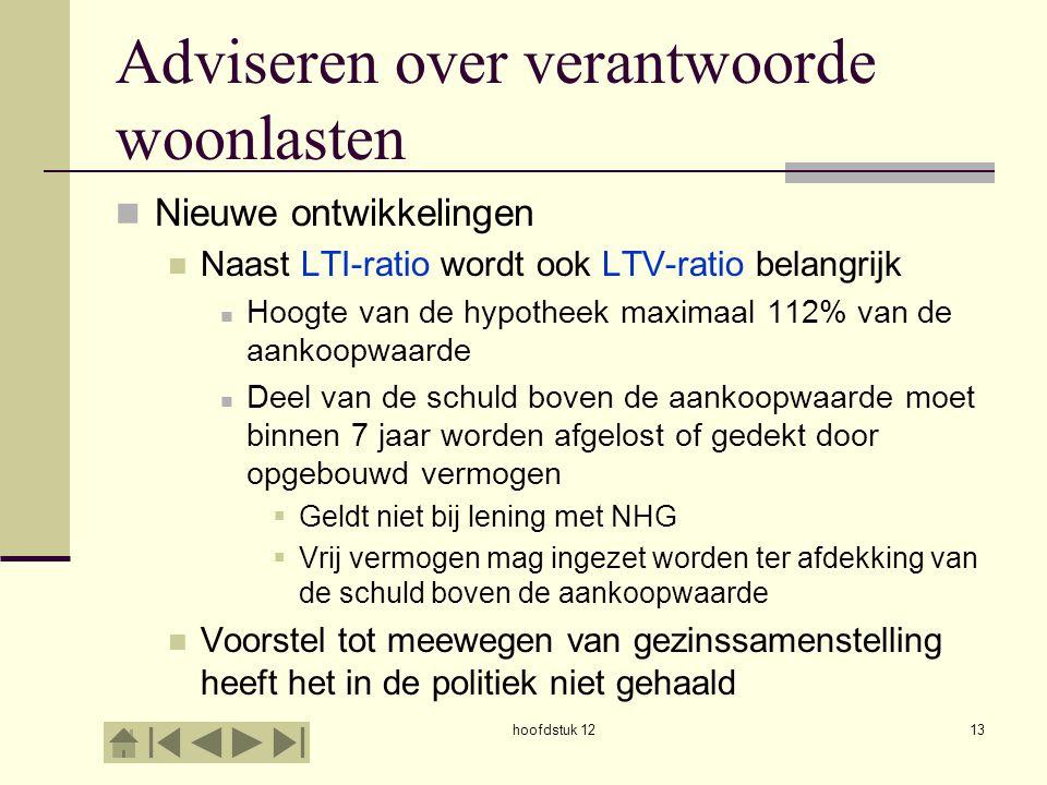 Adviseren over verantwoorde woonlasten Nieuwe ontwikkelingen Naast LTI-ratio wordt ook LTV-ratio belangrijk Hoogte van de hypotheek maximaal 112% van