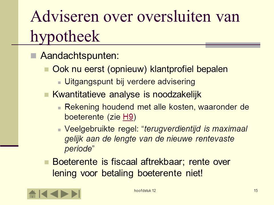 Adviseren over oversluiten van hypotheek Aandachtspunten: Ook nu eerst (opnieuw) klantprofiel bepalen Uitgangspunt bij verdere advisering Kwantitatiev