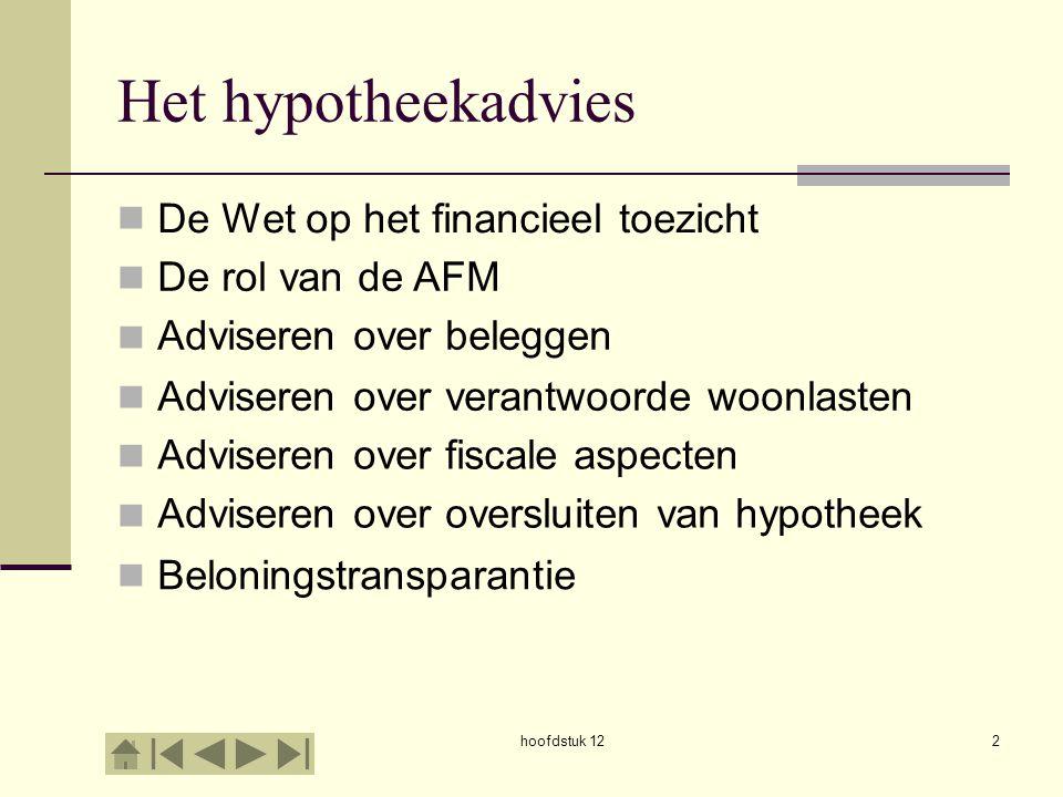 hoofdstuk 122 Het hypotheekadvies De Wet op het financieel toezicht De rol van de AFM Adviseren over beleggen Adviseren over verantwoorde woonlasten A