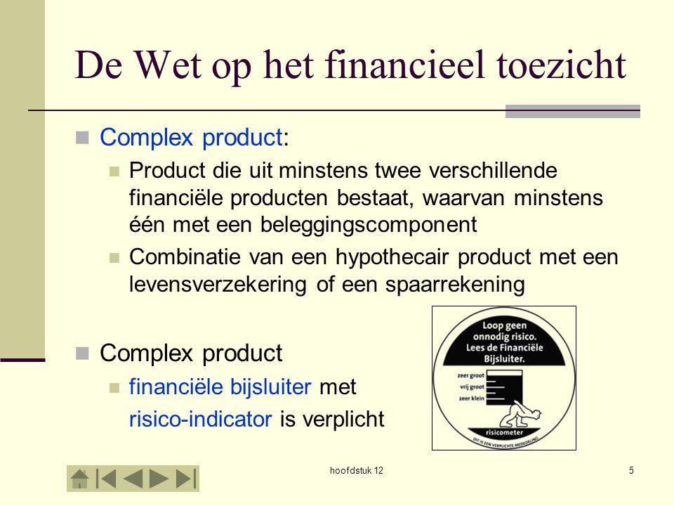 De Wet op het financieel toezicht Complex product: Product die uit minstens twee verschillende financiële producten bestaat, waarvan minstens één met