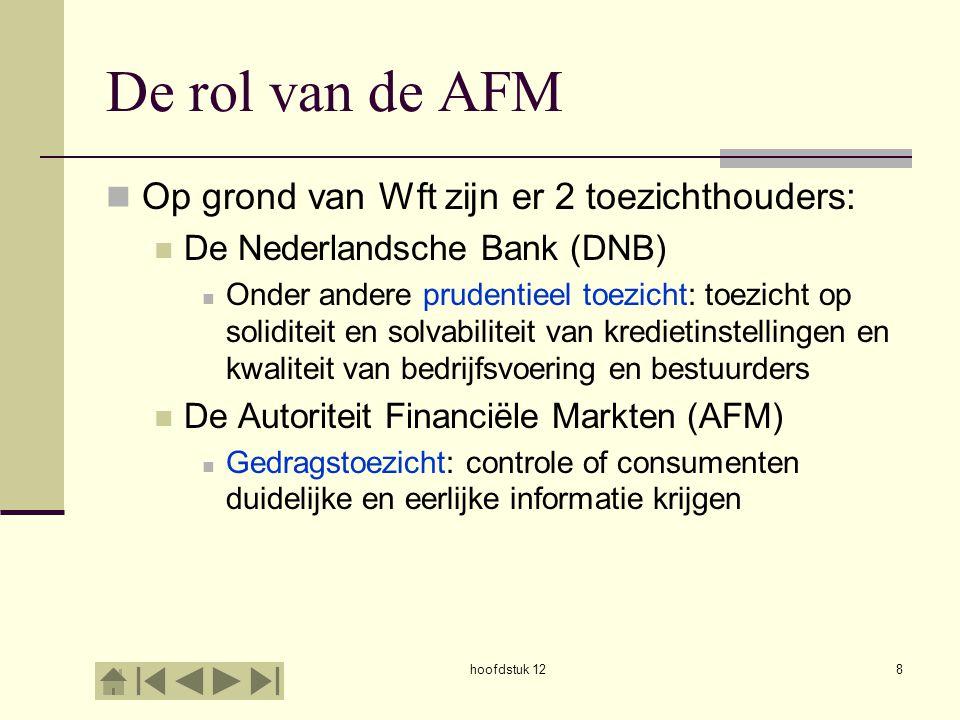 De rol van de AFM Op grond van Wft zijn er 2 toezichthouders: De Nederlandsche Bank (DNB) Onder andere prudentieel toezicht: toezicht op soliditeit en