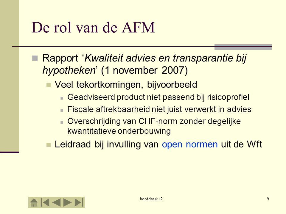 De rol van de AFM Rapport 'Kwaliteit advies en transparantie bij hypotheken' (1 november 2007) Veel tekortkomingen, bijvoorbeeld Geadviseerd product n