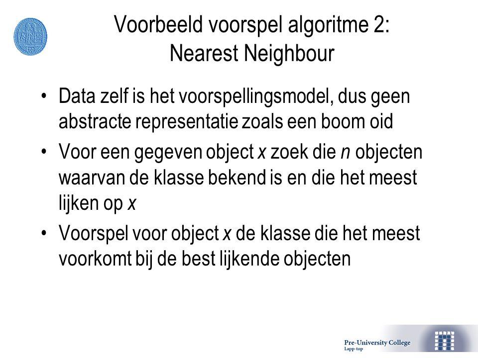 Voorbeeld voorspel algoritme 2: Nearest Neighbour Data zelf is het voorspellingsmodel, dus geen abstracte representatie zoals een boom oid Voor een gegeven object x zoek die n objecten waarvan de klasse bekend is en die het meest lijken op x Voorspel voor object x de klasse die het meest voorkomt bij de best lijkende objecten