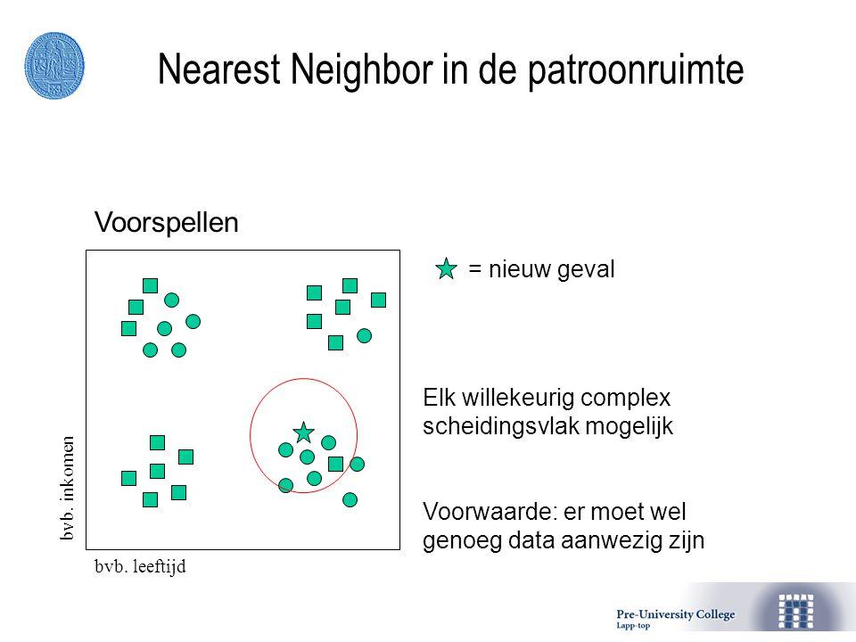 = nieuw geval Elk willekeurig complex scheidingsvlak mogelijk Voorwaarde: er moet wel genoeg data aanwezig zijn Nearest Neighbor in de patroonruimte Voorspellen bvb.
