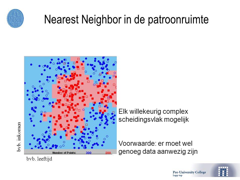 Elk willekeurig complex scheidingsvlak mogelijk Voorwaarde: er moet wel genoeg data aanwezig zijn Nearest Neighbor in de patroonruimte Voorspellen bvb