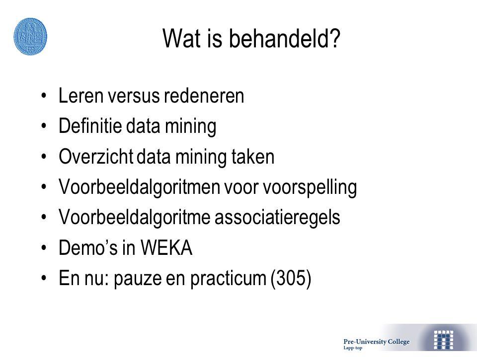 Wat is behandeld? Leren versus redeneren Definitie data mining Overzicht data mining taken Voorbeeldalgoritmen voor voorspelling Voorbeeldalgoritme as