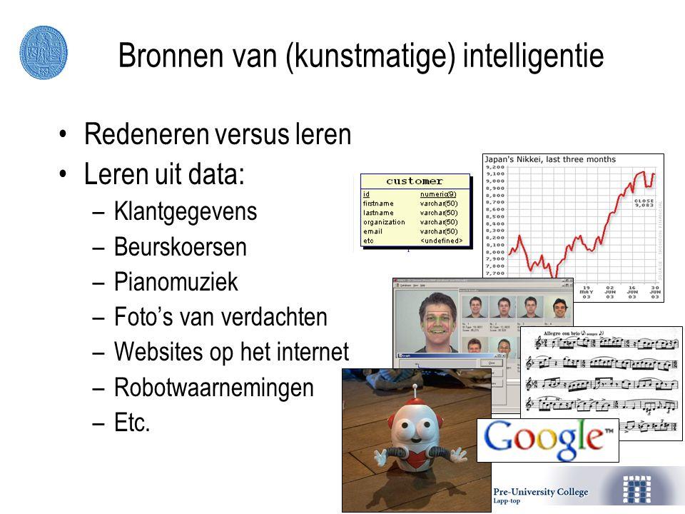 Bronnen van (kunstmatige) intelligentie Redeneren versus leren Leren uit data: –Klantgegevens –Beurskoersen –Pianomuziek –Foto's van verdachten –Websites op het internet –Robotwaarnemingen –Etc.