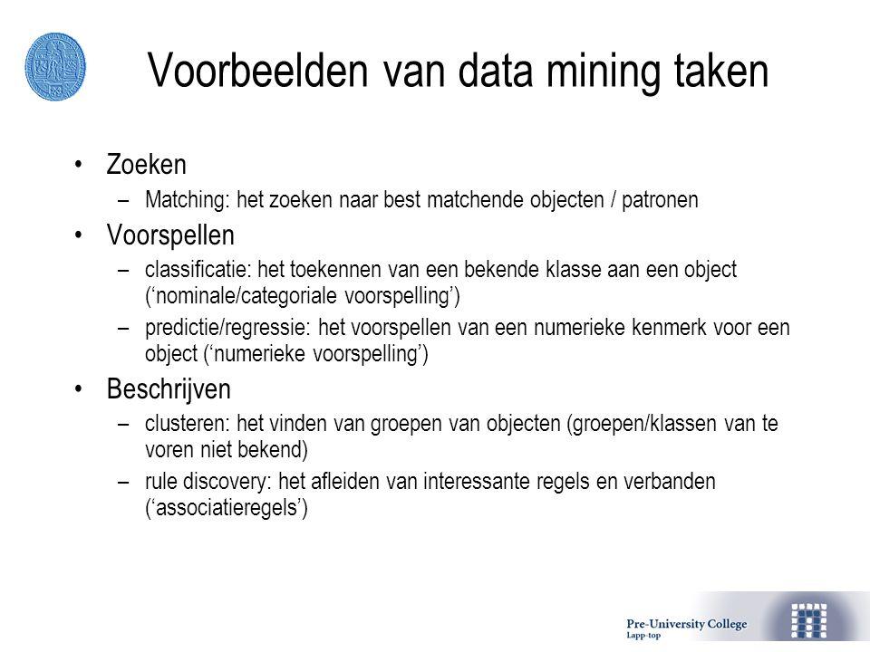 Voorbeelden van data mining taken Zoeken –Matching: het zoeken naar best matchende objecten / patronen Voorspellen –classificatie: het toekennen van e
