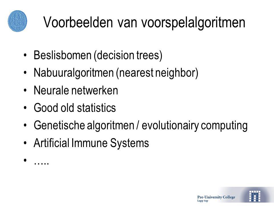 Voorbeelden van voorspelalgoritmen Beslisbomen (decision trees) Nabuuralgoritmen (nearest neighbor) Neurale netwerken Good old statistics Genetische algoritmen / evolutionairy computing Artificial Immune Systems …..
