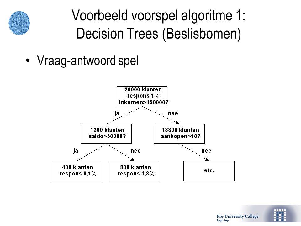 Vraag-antwoord spel Voorbeeld voorspel algoritme 1: Decision Trees (Beslisbomen)