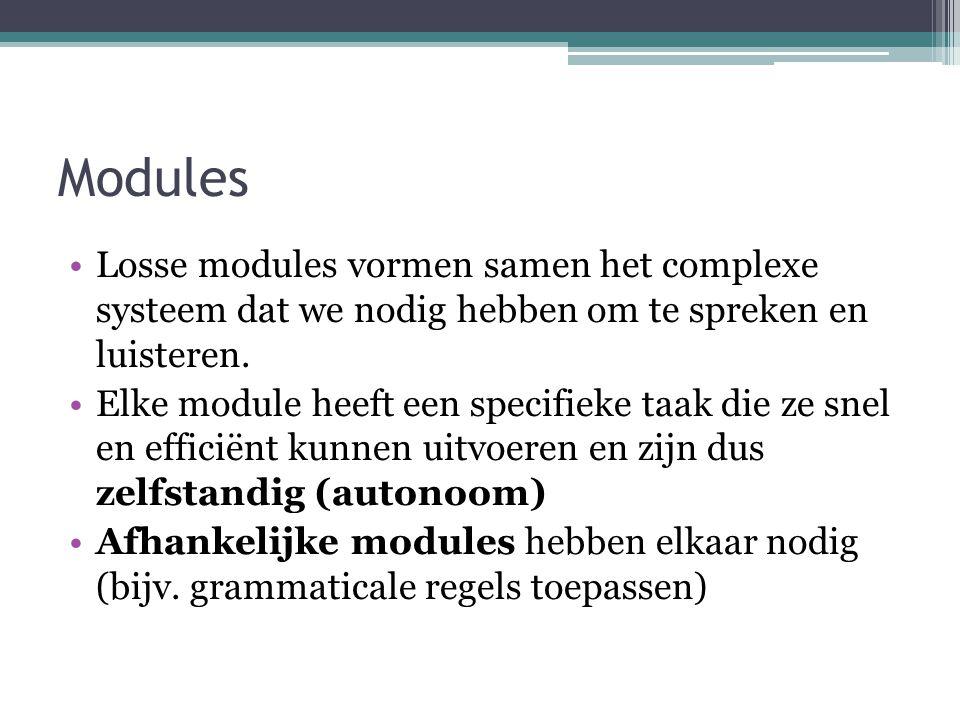 Modules Losse modules vormen samen het complexe systeem dat we nodig hebben om te spreken en luisteren.