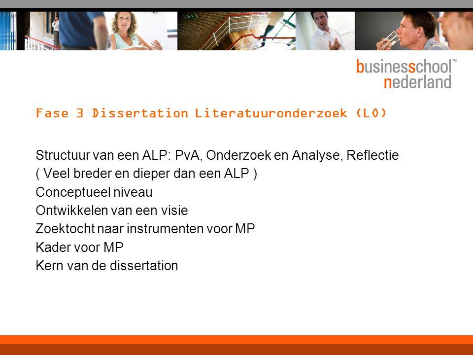 Fase 3 Dissertation Literatuuronderzoek (LO) Structuur van een ALP: PvA, Onderzoek en Analyse, Reflectie ( Veel breder en dieper dan een ALP ) Concept