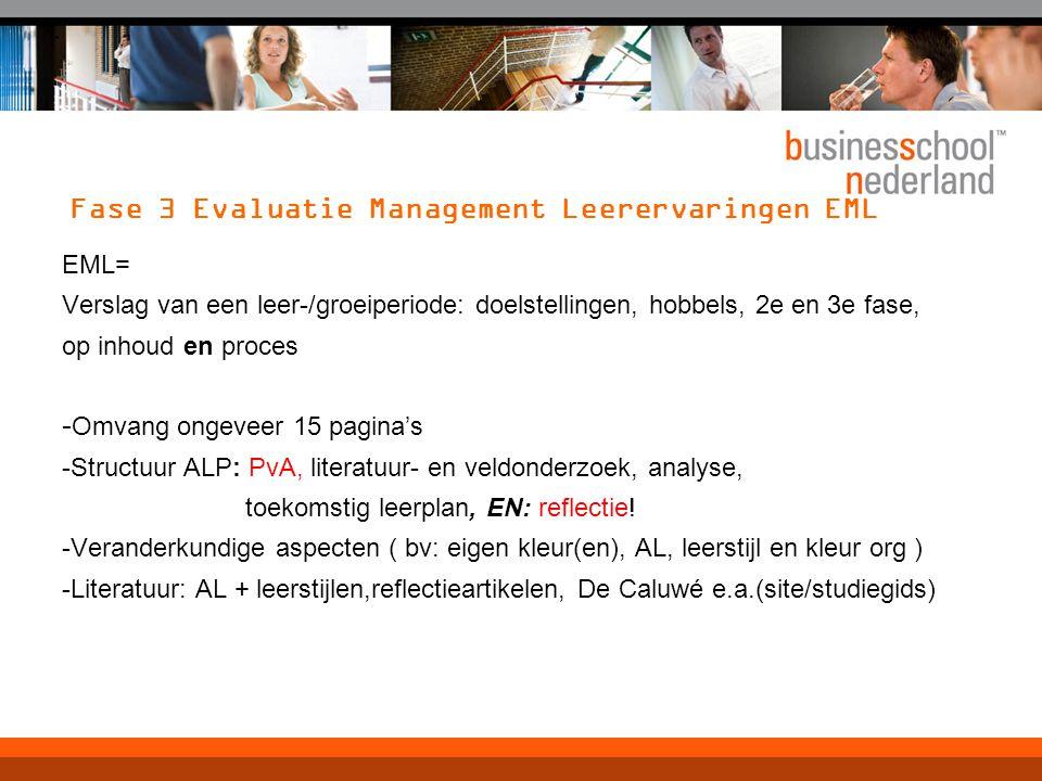 Fase 3 Evaluatie Management Leerervaringen EML EML= Verslag van een leer-/groeiperiode: doelstellingen, hobbels, 2e en 3e fase, op inhoud en proces -