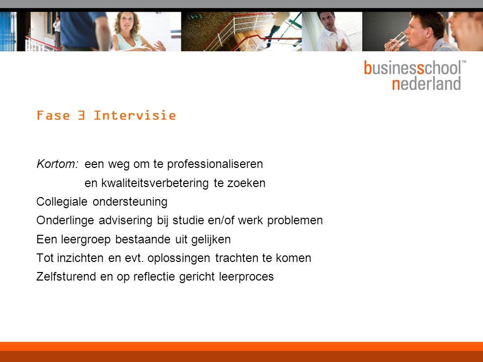 Fase 3 Intervisie Kortom:een weg om te professionaliseren en kwaliteitsverbetering te zoeken Collegiale ondersteuning Onderlinge advisering bij studie