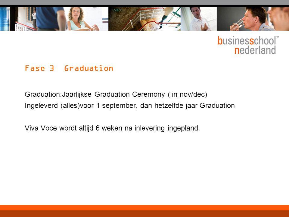Fase 3 Graduation Graduation:Jaarlijkse Graduation Ceremony ( in nov/dec) Ingeleverd (alles)voor 1 september, dan hetzelfde jaar Graduation Viva Voce wordt altijd 6 weken na inlevering ingepland.