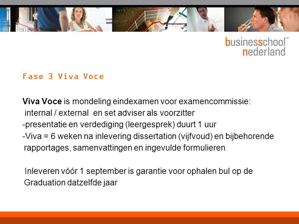 Fase 3 Viva Voce Viva Voce is mondeling eindexamen voor examencommissie: internal / external en set adviser als voorzitter -presentatie en verdediging