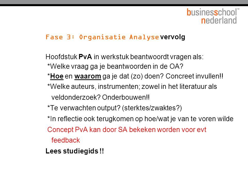 Fase 3: Organisatie Analyse vervolg Hoofdstuk PvA in werkstuk beantwoordt vragen als: *Welke vraag ga je beantwoorden in de OA? *Hoe en waarom ga je d
