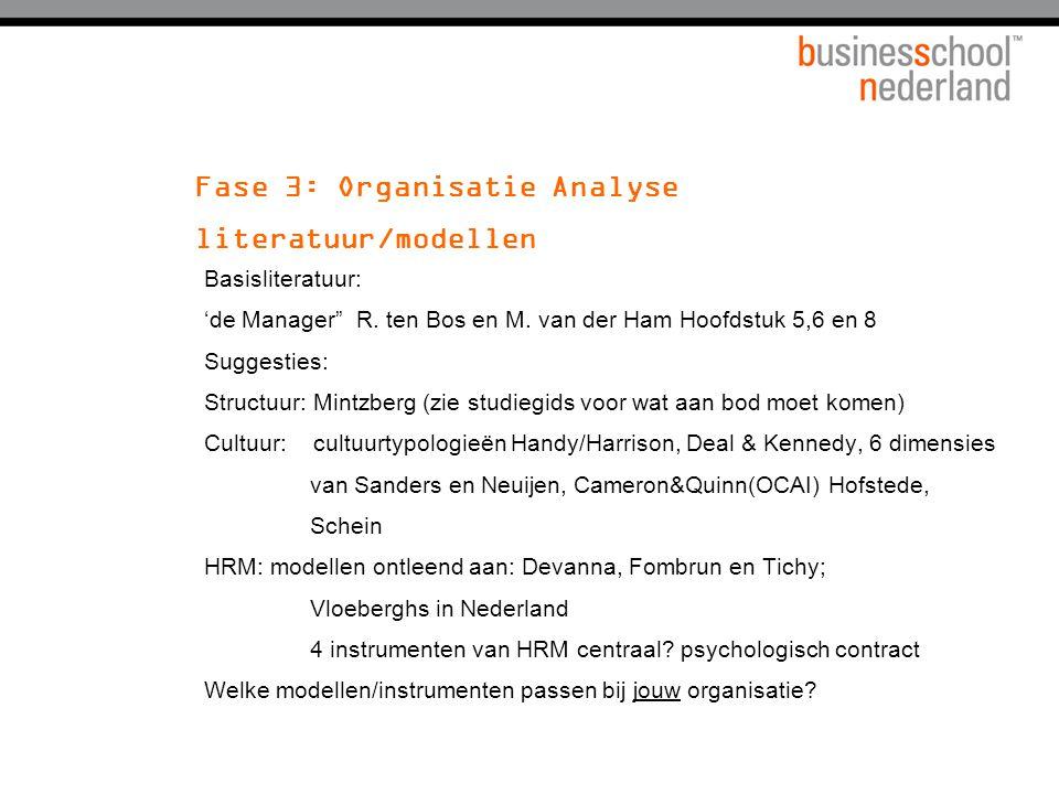 Fase 3: Organisatie Analyse literatuur/modellen Basisliteratuur: 'de Manager R.