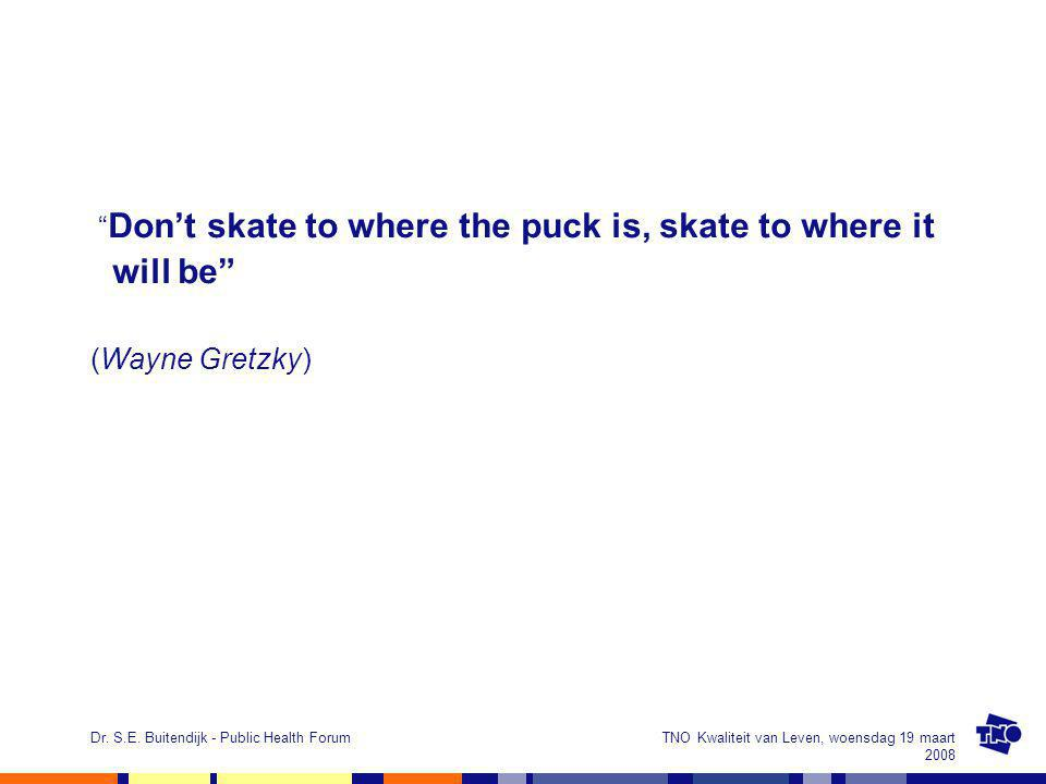 "TNO Kwaliteit van Leven, woensdag 19 maart 2008 Dr. S.E. Buitendijk - Public Health Forum "" Don't skate to where the puck is, skate to where it will b"