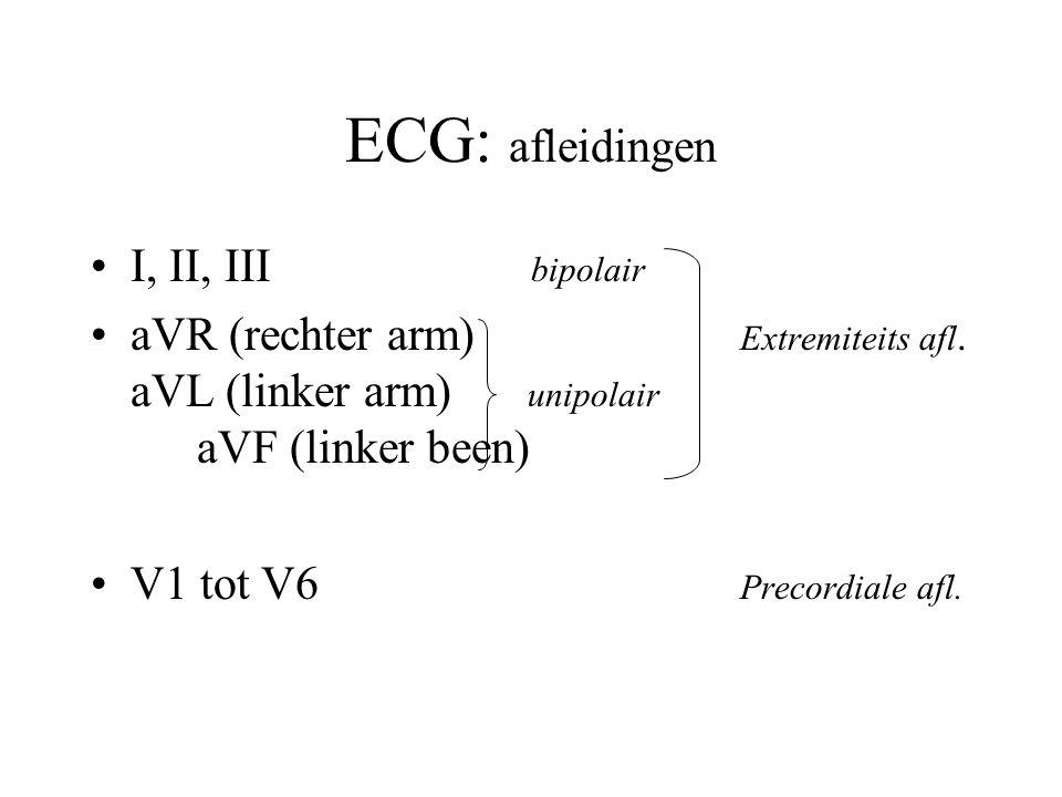 ECG: afleidingen I, II, III bipolair aVR (rechter arm) Extremiteits afl.
