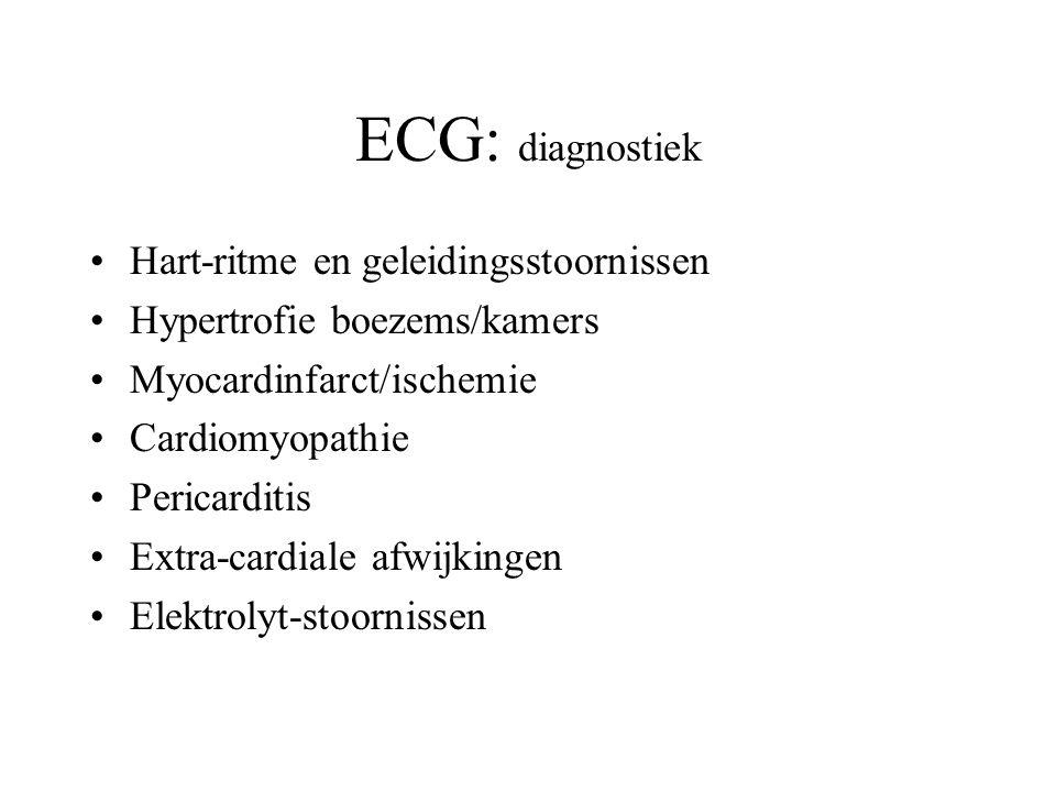 ECG: diagnostiek Hart-ritme en geleidingsstoornissen Hypertrofie boezems/kamers Myocardinfarct/ischemie Cardiomyopathie Pericarditis Extra-cardiale afwijkingen Elektrolyt-stoornissen