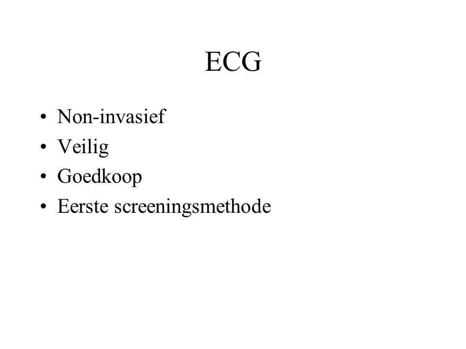 ECG Non-invasief Veilig Goedkoop Eerste screeningsmethode