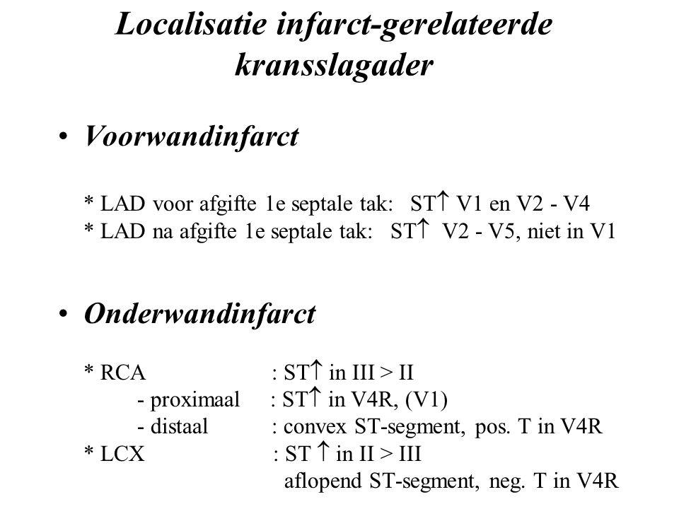 Localisatie infarct-gerelateerde kransslagader Voorwandinfarct * LAD voor afgifte 1e septale tak: ST  V1 en V2 - V4 * LAD na afgifte 1e septale tak: ST  V2 - V5, niet in V1 Onderwandinfarct * RCA : ST  in III > II - proximaal : ST  in V4R, (V1) - distaal : convex ST-segment, pos.