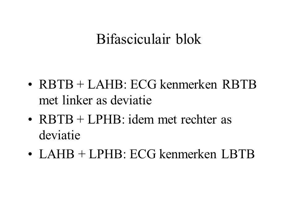 Bifasciculair blok RBTB + LAHB: ECG kenmerken RBTB met linker as deviatie RBTB + LPHB: idem met rechter as deviatie LAHB + LPHB: ECG kenmerken LBTB