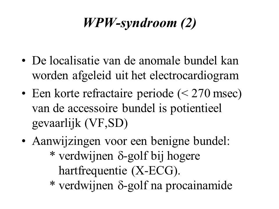 WPW-syndroom (2) De localisatie van de anomale bundel kan worden afgeleid uit het electrocardiogram Een korte refractaire periode (< 270 msec) van de accessoire bundel is potientieel gevaarlijk (VF,SD) Aanwijzingen voor een benigne bundel: * verdwijnen  -golf bij hogere hartfrequentie (X-ECG).