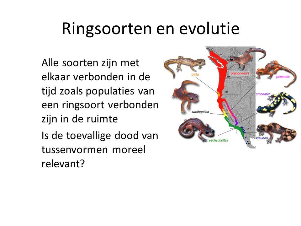 Ringsoorten en evolutie Alle soorten zijn met elkaar verbonden in de tijd zoals populaties van een ringsoort verbonden zijn in de ruimte Is de toevallige dood van tussenvormen moreel relevant?