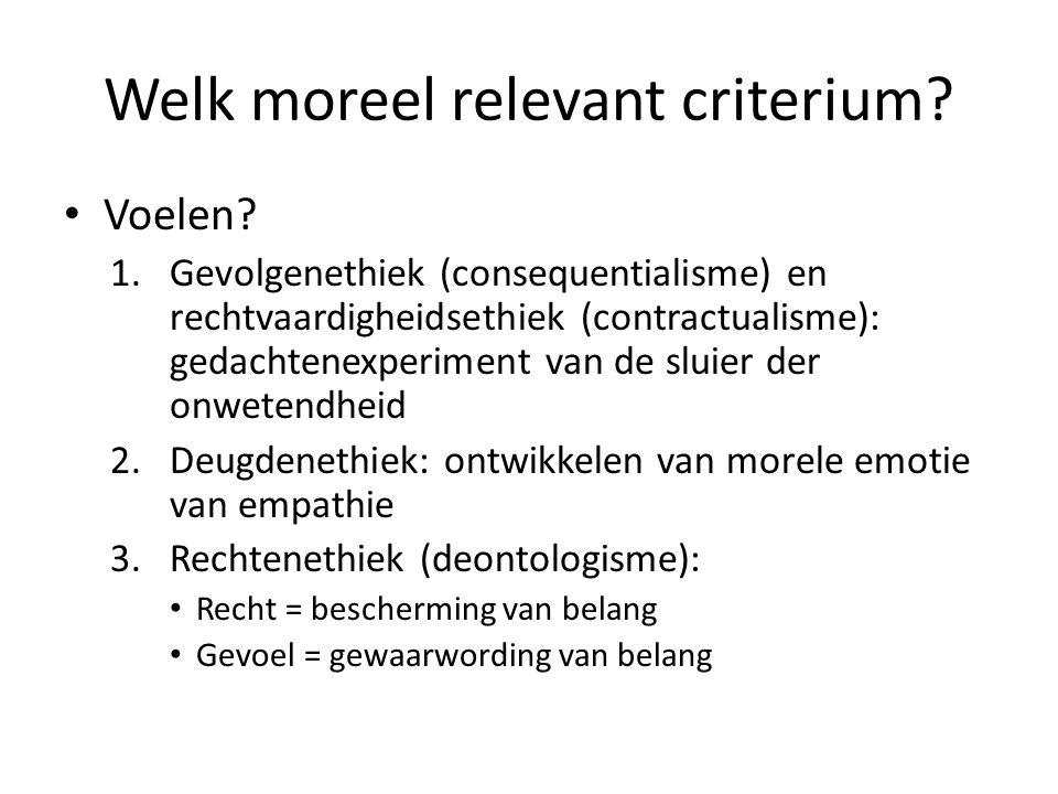Welk moreel relevant criterium.Voelen.