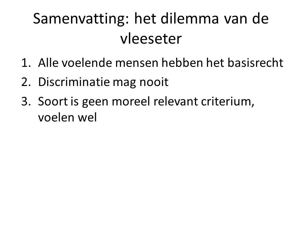 Samenvatting: het dilemma van de vleeseter 1.Alle voelende mensen hebben het basisrecht 2.Discriminatie mag nooit 3.Soort is geen moreel relevant criterium, voelen wel