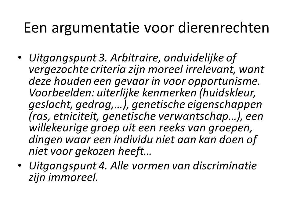 Een argumentatie voor dierenrechten Uitgangspunt 3.
