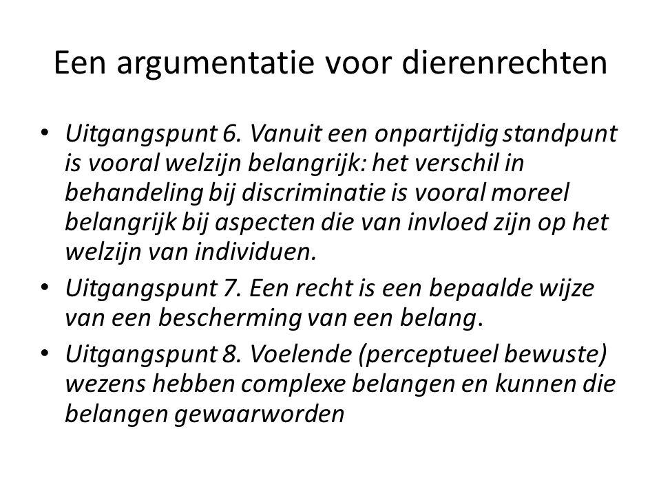 Een argumentatie voor dierenrechten Uitgangspunt 6.