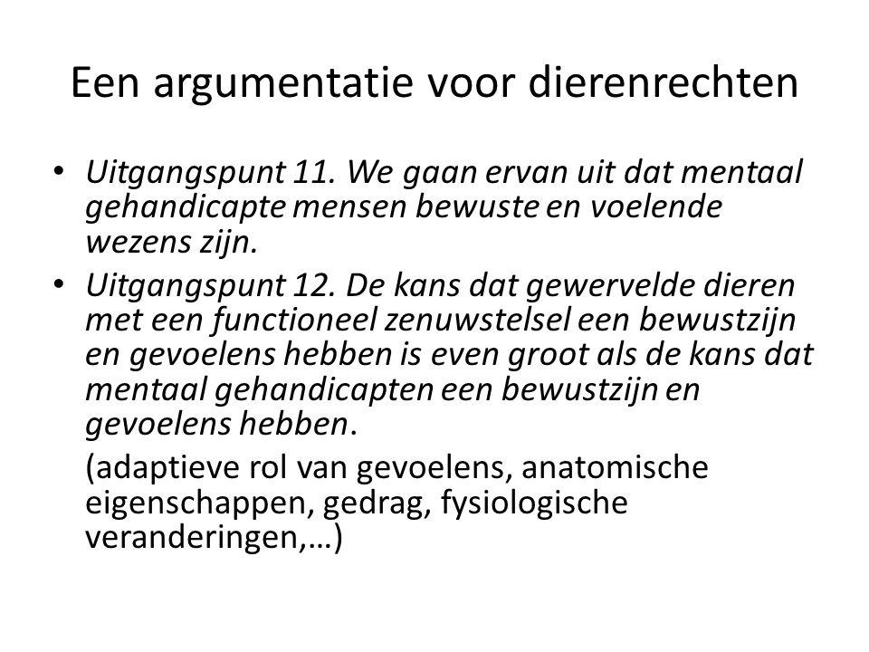 Een argumentatie voor dierenrechten Uitgangspunt 11.