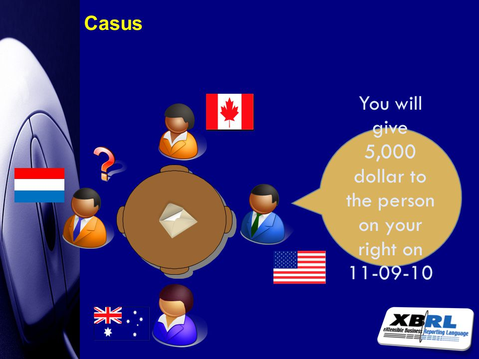 You will give 5,000 dollar to the person on your right on 11-09-10 Casus