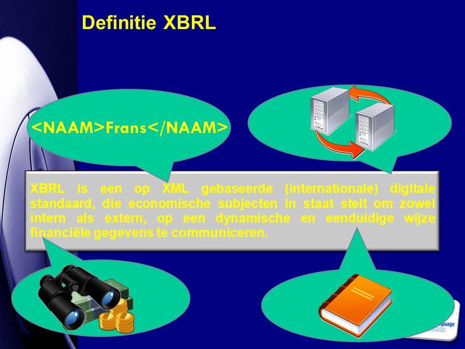 XBRL is een op XML gebaseerde (internationale) digitale standaard, die economische subjecten in staat stelt om zowel intern als extern, op een dynamis