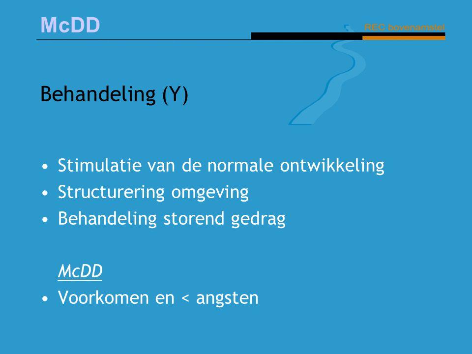 McDD Behandeling (Y) Stimulatie van de normale ontwikkeling Structurering omgeving Behandeling storend gedrag McDD Voorkomen en < angsten