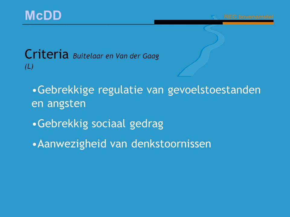 McDD Criteria Buitelaar en Van der Gaag (L) Gebrekkige regulatie van gevoelstoestanden en angsten Gebrekkig sociaal gedrag Aanwezigheid van denkstoorn