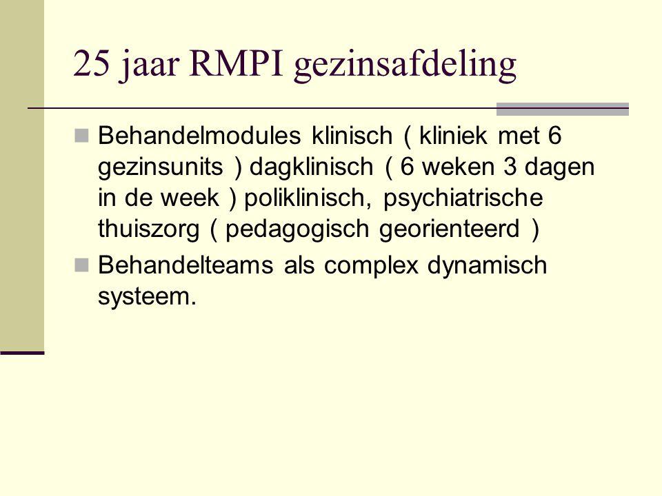 25 jaar RMPI gezinsafdeling Behandelmodules klinisch ( kliniek met 6 gezinsunits ) dagklinisch ( 6 weken 3 dagen in de week ) poliklinisch, psychiatrische thuiszorg ( pedagogisch georienteerd ) Behandelteams als complex dynamisch systeem.